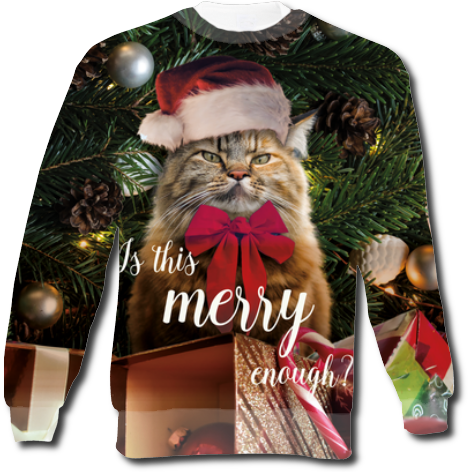 Bluza fullprint świąteczne, kot grumpy cat, is this merry enough?